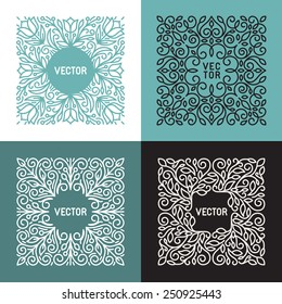 Vector floral frame with copy space for text in trendy mono line style - monogram design element