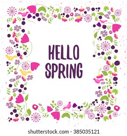 Vector floral frame in doodle style with flowers and leaves. Gentle floral frame hello spring, Floral frame background
