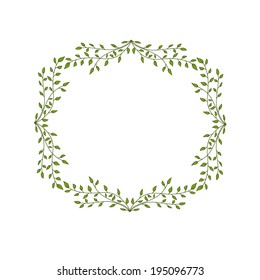 Vector floral frame with green leaves