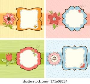 Vector floral frame set.  Seamless backgrounds.