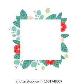 Vector floral frame for wedding invitations, greeting cards and business cards. Bright flower frame