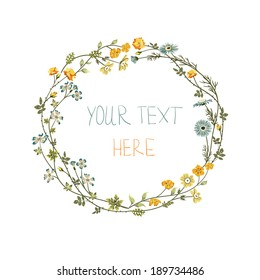 Vector floral frame with yellow and blue flowers