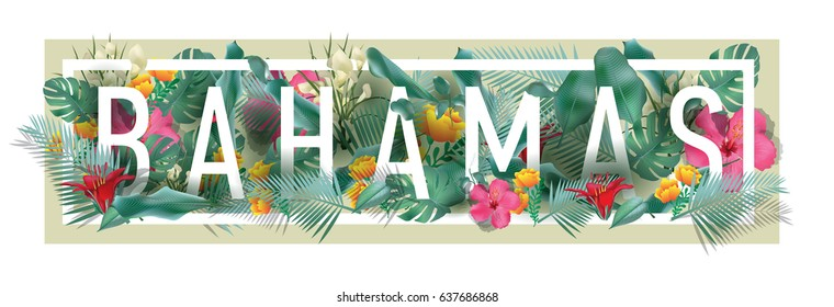 vector floral framed typographic BAHAMAS city artwork