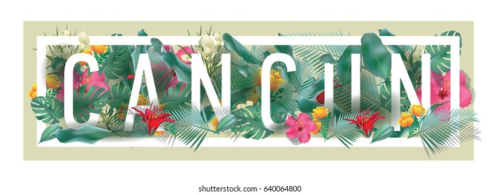 vector floral framed typographic CANCUN city artwork