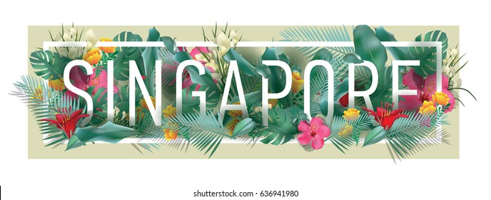 vector floral framed typographic SINGAPORE city artwork