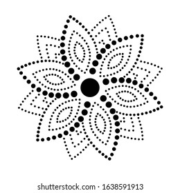 Vector floral geometric design. Dotted element with flower on white background. Decorative picture with flowery elements, pattern. Image for greeting cards and invitations.