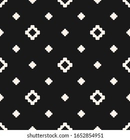 Vector floral geometric texture. Abstract black and white seamless pattern with small flower shapes, diamonds, squares, crosses. Simple minimal monochrome background. Dark minimalist repeat design