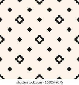 Vector floral geometric texture. Abstract black and white seamless pattern with small flower shapes, diamonds, squares, crosses. Simple minimal monochrome background. Repeat design for decor, print