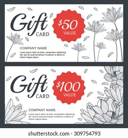 Vector floral gift voucher or card background template. Vintage illustration of lotus, lily flowers. Concept for boutique, jewelry, floral shop, beauty salon, spa, fashion, flyer, banner design.
