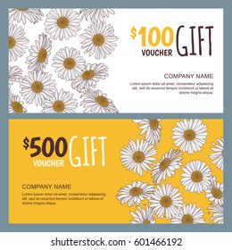 Vector floral gift voucher template. Colorful spring background with chamomile flowers. Design concept for floral shop, beauty salon, boutique, flyer, banner, holiday greeting card.