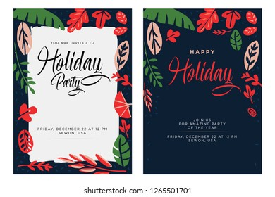Vector Floral Holiday Invitations. Party Template