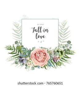 Vector floral invite greeting postcard card design: garden pink Rose wax flower, Eucalyptus branch green palm leaves succulent bouquet watercolor wreath. Romantic art editable illustration. Text space