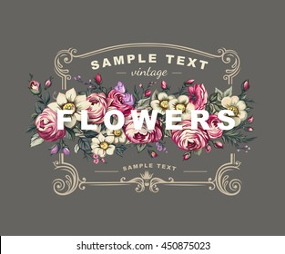 Vector floral label with a frame composed of detailed flowers