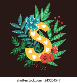 Vector floral letter made from leaves, branches, berries and flowers. Bright botanical alphabet. Vintage hand drawing character. Letter S.