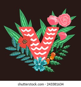 Vector floral letter made from leaves, branches, berries and flowers. Bright botanical alphabet. Vintage hand drawing character. Letter V.