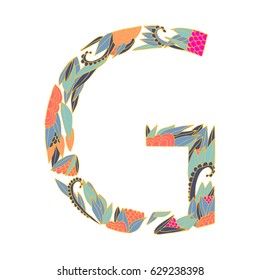Vector floral letter made from leaves, branches, berries and flowers. Bright botanical alphabet. Vintage hand drawing letter G.