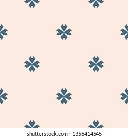 Vector floral minimalist seamless pattern. Simple blue and beige abstract geometric background with small flowers, petals, crosses. Minimal ornament texture. Elegant repeating design for decor, fabric