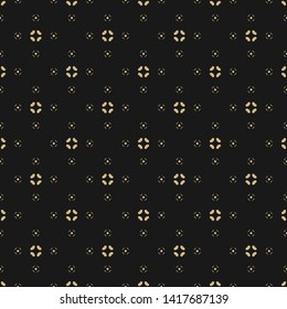 Vector floral minimalist seamless pattern. Simple gold and black abstract geometric background with small flowers, petals, diamonds. Minimal golden ornament texture. Dark elegant repeatable design