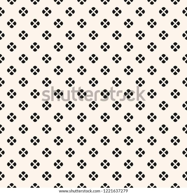 Vector Floral Minimalist Seamless Pattern Black Stock Vector