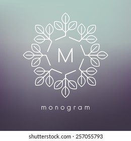 Vector floral monogram. Modern minimalist template for branding and logo design. Modern elegant frame with leaves. Blurred green and violet backdrop. Contemporary graphic eco design.