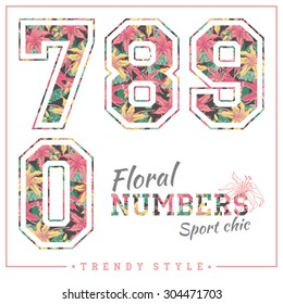Vector floral numbers for t-shirts, posters, card and other uses. Sport chic. Trendy style.