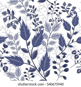 Vector floral ornamental seamless pattern in blue colors. Hand drawn flowers and fruits. Winter floral background.