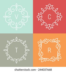Vector floral outline frames and borders - abstract logo design templates for spa, floral shops and cosmetics
