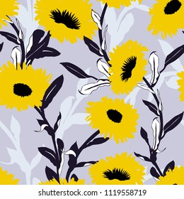 Vector floral pattern with bold flower shapes on grey background. Seamless vector pattern in fall autumn color. Autumn floral background in vintage style. Bold print with leaf and flower silhouettes