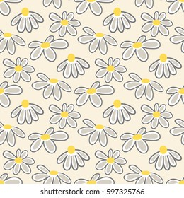 Vector floral pattern with cute daisies. Seamless floral pattern with spring flowers and leaves.