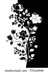 Vector floral pattern. Decorative stem with a flower separated vertically. Graphics in the style of Yin Yang