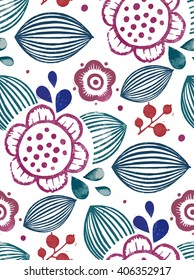 Vector floral pattern with digitalized linocut abstract fuchsia flowers and dots on transparent background. Large stylized flowers, fabric pattern.