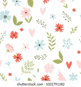 Vector floral pattern in doodle style with flowers and leaves on white background. Gentle, spring floral background.