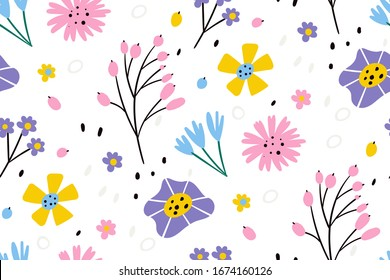 Vector floral pattern in doodle style with flowers and leaves. Seamless pattern for printing brochure, poster, party, summer print, textile design, card. Scandinavian style. Summer background.