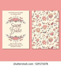 Vector floral pattern in doodle style with flowers and leaves. Cute pattern in small flower. Seamless floral background. The elegant the template for fashion prints.