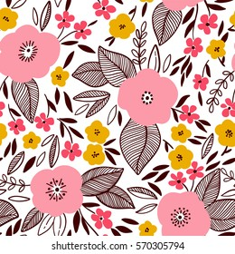 Vector floral pattern in doodle style with flowers and leaves. Gentle, spring background.