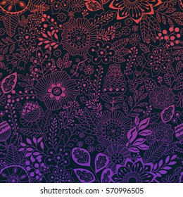 Vector floral pattern in doodle style with flowers and leaves. Gentle, spring/summer floral background.