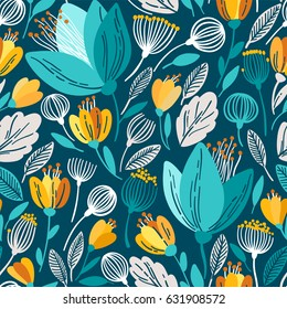 Vector floral pattern in doodle style with blue flowers and leaves.