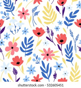 Vector floral pattern with flowers and leaves. Gentle, spring background.