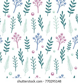 Vector floral pattern with handdrawn flowers and leafs. Seamless pattern.