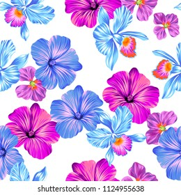 vector floral pattern with hibiscus and orchids. colorful blossom, allover layout, on white background.