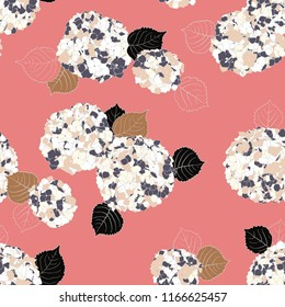 Vector floral pattern with Hortensia flower on pink background. Seamless vector pattern in spring color. Spring hand drawn background in vintage style. Bold print with hand drawn leaves and flowers