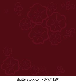 Vector floral pattern on the background color burgundy.