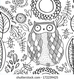 Vector Floral Pattern With Owl