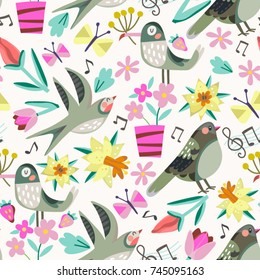 Vector floral pattern. Seamless botanic and bird texture, detailed illustrations.