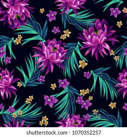 Vector floral pattern. Seamless tropical allover design with lotus, palms, and other flowers. dramatic colors, trendy pattern. on black