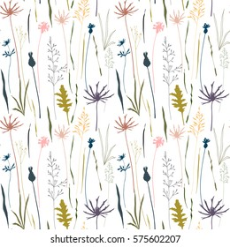 Vector floral pattern with wild meadow flowers, herbs and grasses.Thin delicate line silhouettes of different plants - johnson's grass, cornflowers, thistles. Pastel colors on white background