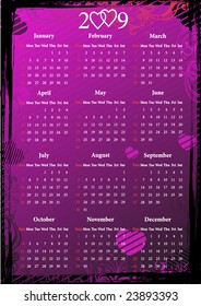 Vector floral pink grungy calendar with hearts. Starting from Sundays