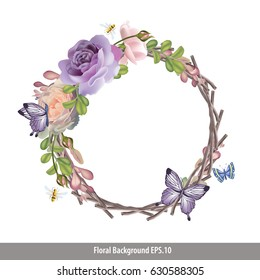 Vector of Floral retro style on branch wreath.