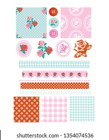 Vector floral rose seamless patterns and icons