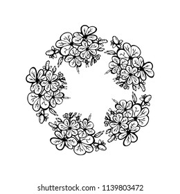 Vector floral round wreath.  Circle frame, black and white wreath made of flowers. Circle decoration element